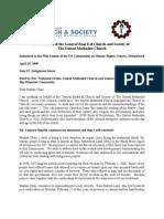 4/19/1999 Oral Intervention of Leonard Benally & GBCS, UMC, Geneva