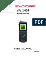 Sencore SA 1454 Manual V1.0