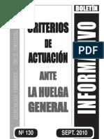 Criterios de actuación Huelga General CGT