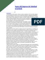 Discurso íntegro del ingreso de Soledad Puértolas en la RAE