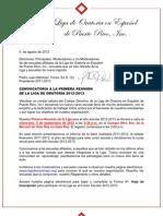 2012-2013 Comunicado #1 Convocatoria Primera Reuniom