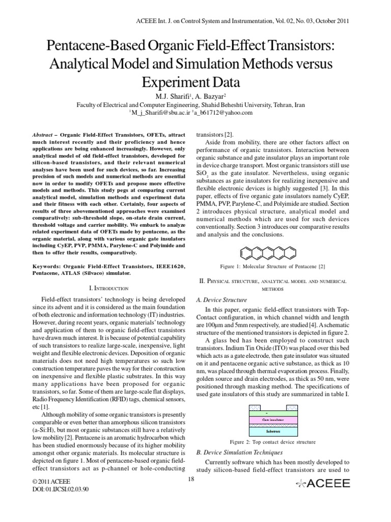 Pentacene-Based Organic Field-Effect Transistors: Analytical Model