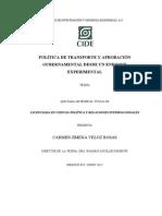 La política de transporte y la aprobación gubernamental desde un enfoque experimental