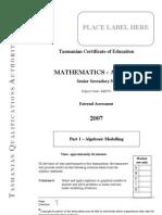 Tasmanian Certificate of Education Mathematics Applied 2007