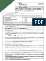 PROVA 1 - ANALISTA - ADMINISTRAÇÃO DE MATERIAIS E LICITAÇÕES