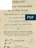 Ensayo sobre las variedades de vid común que vegetan en Andalucía (1807)