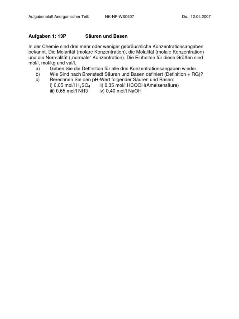BK01 - Nebenfach Chemie - Klausurfragen 01-07