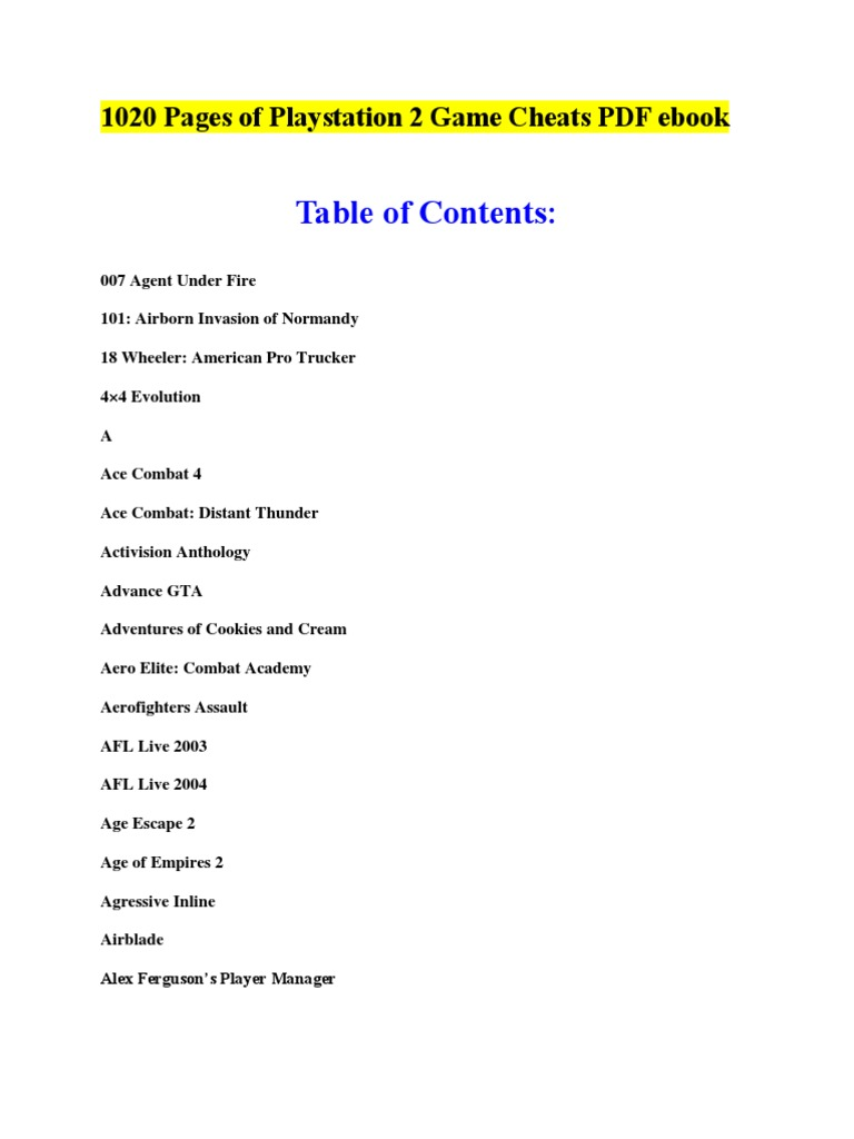 1020 pages of playstation 2 game cheats pdf ebook video games