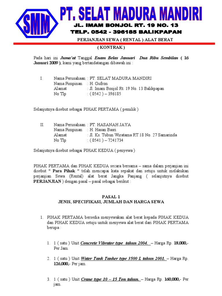 Perjanjian Sewa Pt Hasanah Jaya