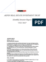 AKFEN GYO Monthly Investor Report - JULY 2012