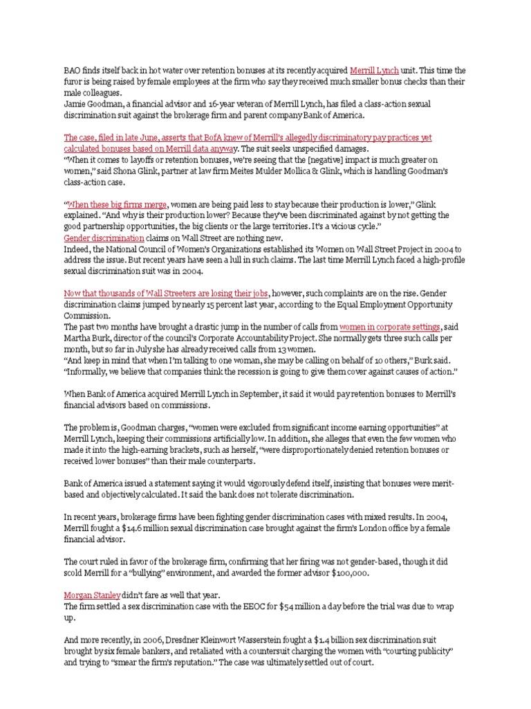 hr issue | Sexism | Merrill Lynch
