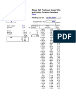 Single Wall Thickness Vessel Weight Calculator