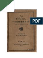 Die Verfassung Des Deutschen Reiches Vom 11. August 1919 (1929, 48 S., Scan, Fraktur)