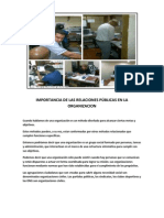 IMPORTANCIA DE LAS RELACIONES PÚBLICAS EN LA ORGANIZACION