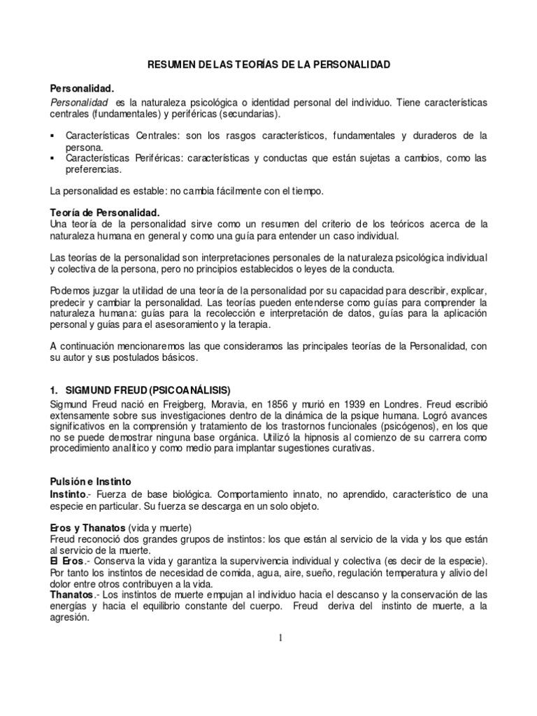 Psicología) (Psiquiatría) (Medicina) Resumen de las Teorías de ...
