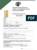 Ficha de Inscripción XVIII Pluri