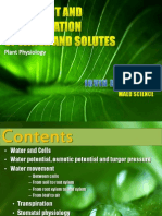 Plant Transport and Translocation of Nutrients and Water