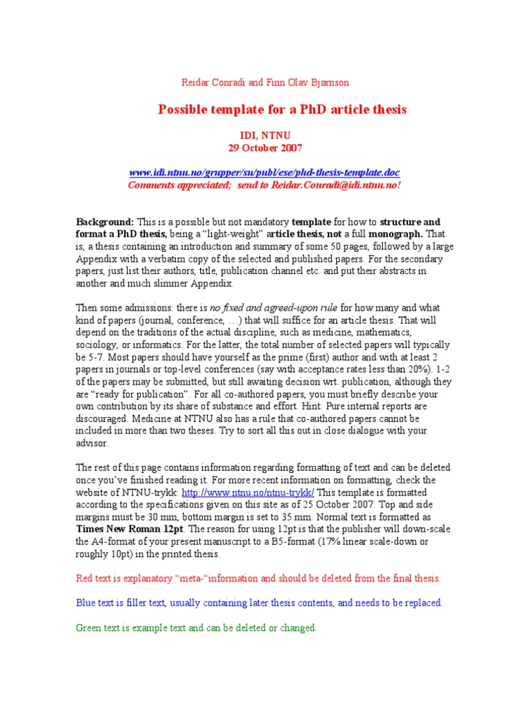 Phd Thesis Template | Knowledge Management | Thesis