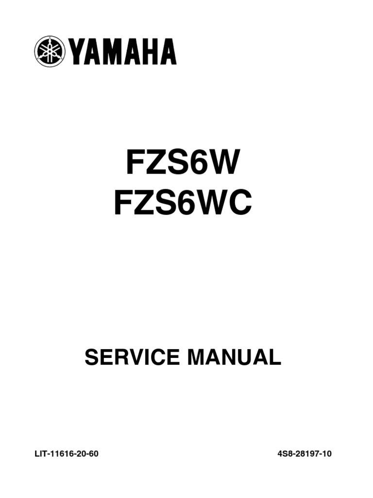 Yamaha Fazer FZ6 S2 2007 Service Manual ENG | Fuel Injection ...