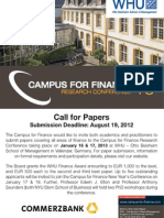 Call for Papers - Campus for Finance Research Conference 13