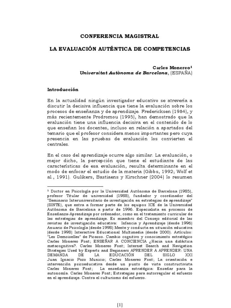 Evaluación auténtica de competencias Monereo