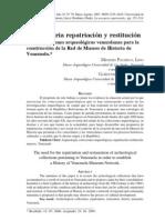 La Necesaria Repatriacion y Restitucion de Las Colecciones Arqueologicas Venezolanas
