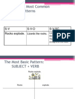 Sentence Patterns Sv, Sva Etc
