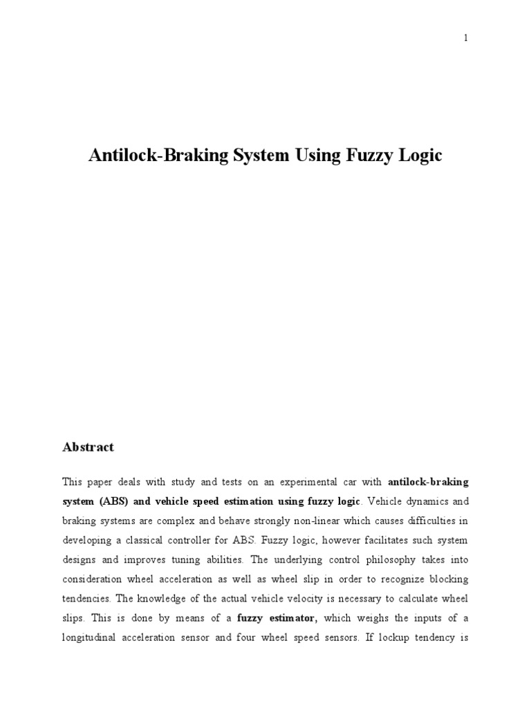 Abs using fuzzy logic anti lock braking system fuzzy logic fandeluxe Image collections