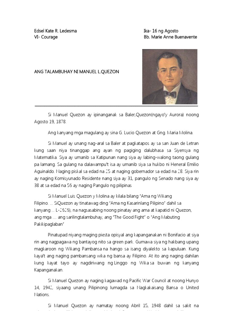manuel l quezon tagalog essay Manuel l quezon is a filipino statesman, leader of the independence movement against the united states' annexation of the philippines, and the first president of the philippine commonwealth established under united state tutelage in 1935.
