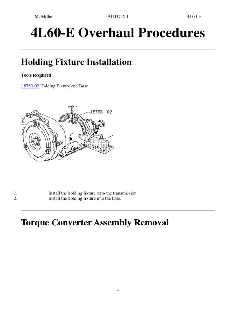 4l60e Overhaul Manual Clutch Transmission Mechanics