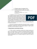 Criterios Manejo Fertilizacion Cultivo Maiz