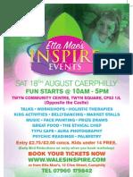 Etta Mae's Inspire Event August 18, Twyn Community Centre, Caerphilly