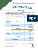 Structura an Scolar Calendar 2012 2013