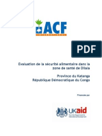 Evaluation de la sécurité alimentaire dans la zone de santé de Dilala. Province Du Katanga.rdc.2011