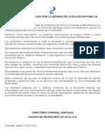PROFESORES DE SANTIAGO POR LA DEFENSA DE LA EDUCACIÓN PÚBLICA