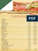Roadrunner Pizza Menu