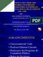 La Eficiencia Del Mercado Accionario Colombiano