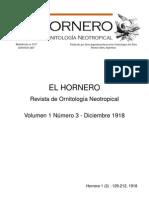 Revista El Hornero, Volumen 1, N° 3. Diciembre de 1918