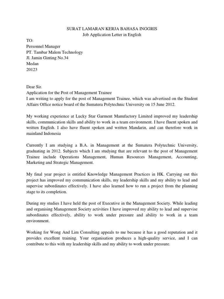 Contoh Surat Lamaran Kerja Bahasa Inggris