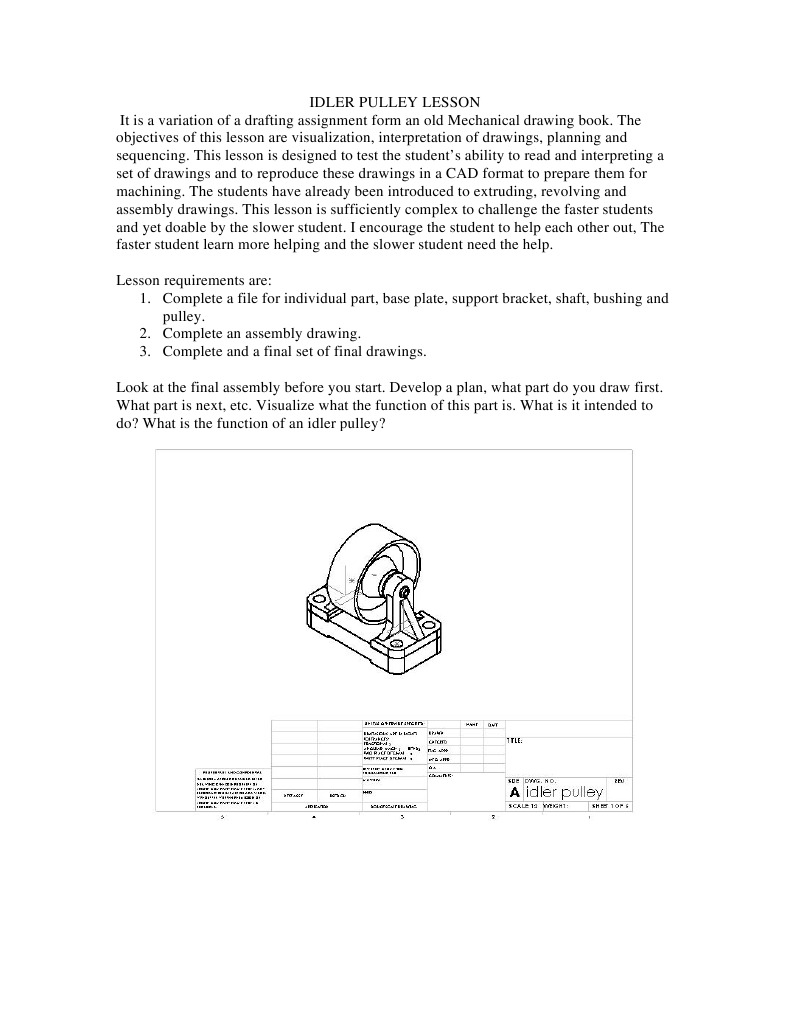Idler Pulley Lesson Technical Drawing Cognition Timing Belt Cad