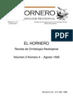 Revista El Hornero, Volumen 3, N° 4. 1926.