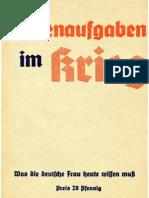 Hildebrand, Ruth - Frauenaufgaben Im Krieg (Um 1940, 33 S., Scan, Fraktur)