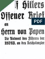Hitler, Adolf - Offener Brief an Franz Von Papen Vom 16. Oktober 1932 (24 S., Scan, Fraktur)