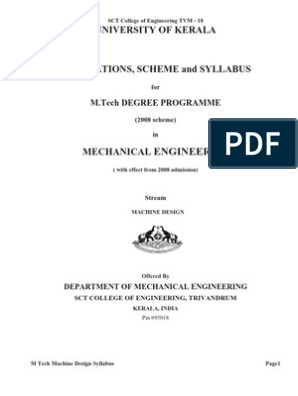 M Tech Machine Design Kerala University Syllabus Bending Stress Mechanics