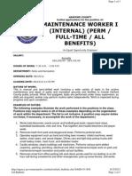 12-057 Maintenance Worker I (Internal)