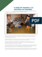 Invierno Colombia 186.822Damnificados 55muertos 11desaparecidos