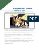 Plastico Biodegradable de Las Plumas de Pollo 2012