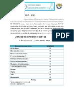 Catálogo de precios de análisis que se realizan en nuestro laboratorio central