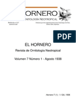 Revista El Hornero, Volumen 7, N° 1. Agosto 1938.