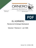 Revista El Hornero, Volumen 7, N°2. Julio 1939.